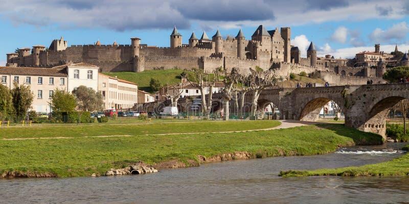 Middeleeuwse ommuurde stad van Carcassonne royalty-vrije stock foto
