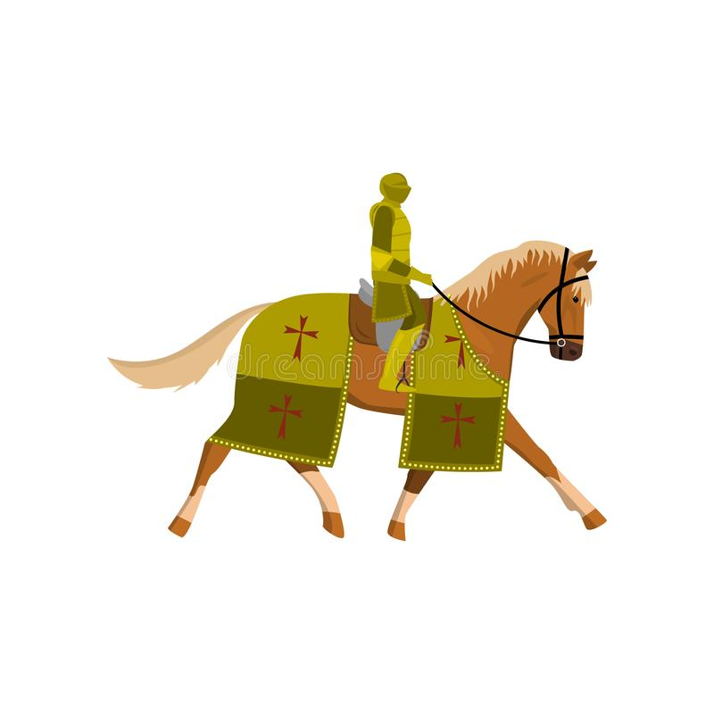 Middeleeuwse oude ridder in groen kleurenpantser en bruin paard stock illustratie