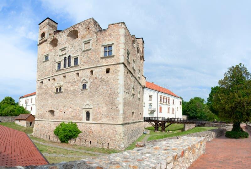 Middeleeuwse oude steen koninklijke kasteel en vesting stock afbeeldingen
