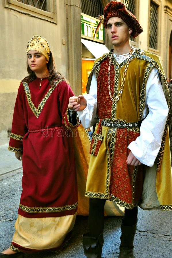 Middeleeuwse parade in Italië royalty-vrije stock afbeelding