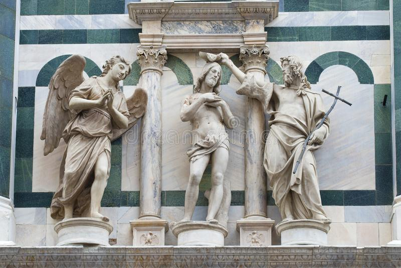Middeleeuwse plastische samenstelling Fragment van het landschap van de Kathedraal van Santa Maria del Fiore Florence royalty-vrije stock foto's