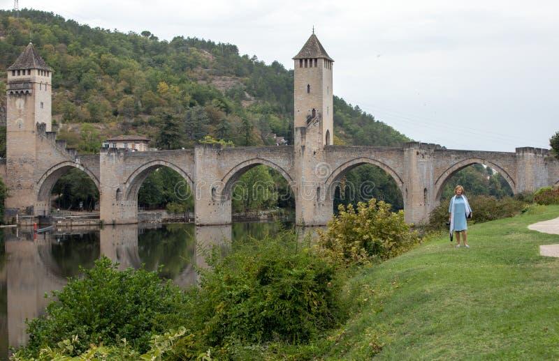 Middeleeuwse Pont Valentre over de Rivierpartij, Cahors, de Partij, Frankrijk royalty-vrije stock fotografie