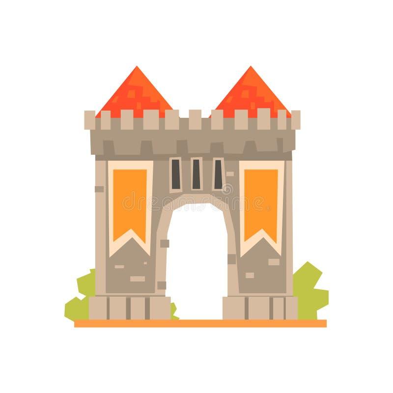 Middeleeuwse poort en twee wachttorens, oude architectuur die vectorillustratie bouwen stock illustratie