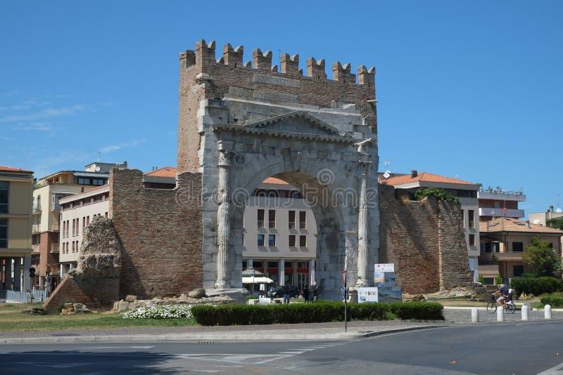 Middeleeuwse poorten in Rimini, Italië stock afbeelding