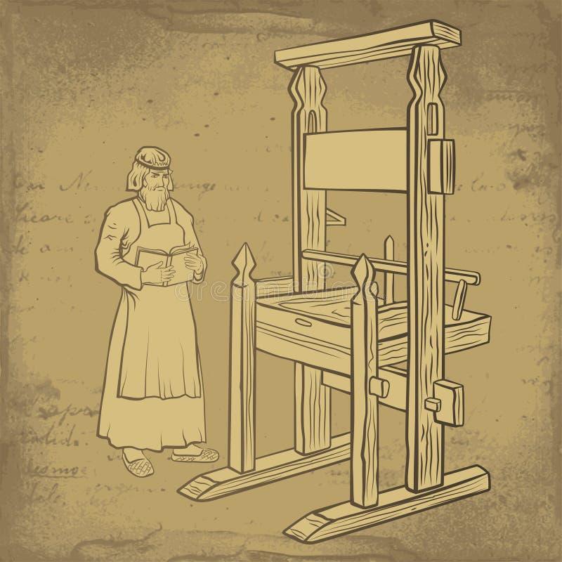 Middeleeuwse printer royalty-vrije illustratie