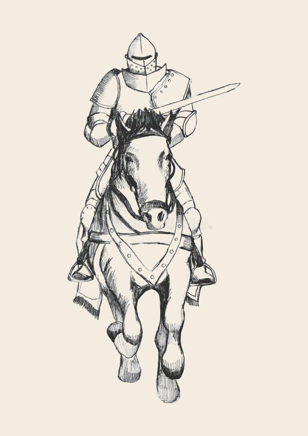Middeleeuwse ridder die op paard een lans dragen royalty-vrije illustratie