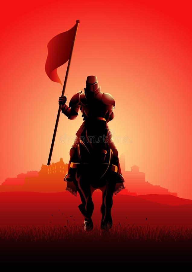 Middeleeuwse ridder die op paard een vlag dragen stock illustratie