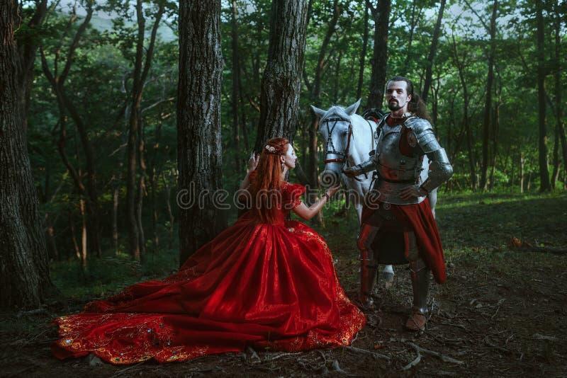 Middeleeuwse ridder met dame stock fotografie