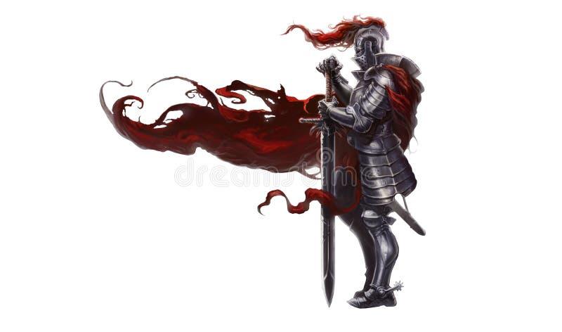 Middeleeuwse ridder met lang zwaard stock illustratie