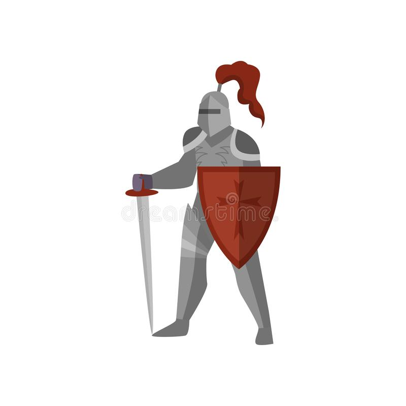 Middeleeuwse ridder met lang zwaard en rood kruisschild royalty-vrije illustratie