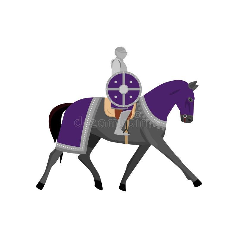 Middeleeuwse ridder in metaalpantser met rond violet schild royalty-vrije illustratie