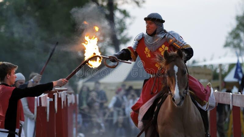Middeleeuwse ridder op het paard royalty-vrije stock foto's