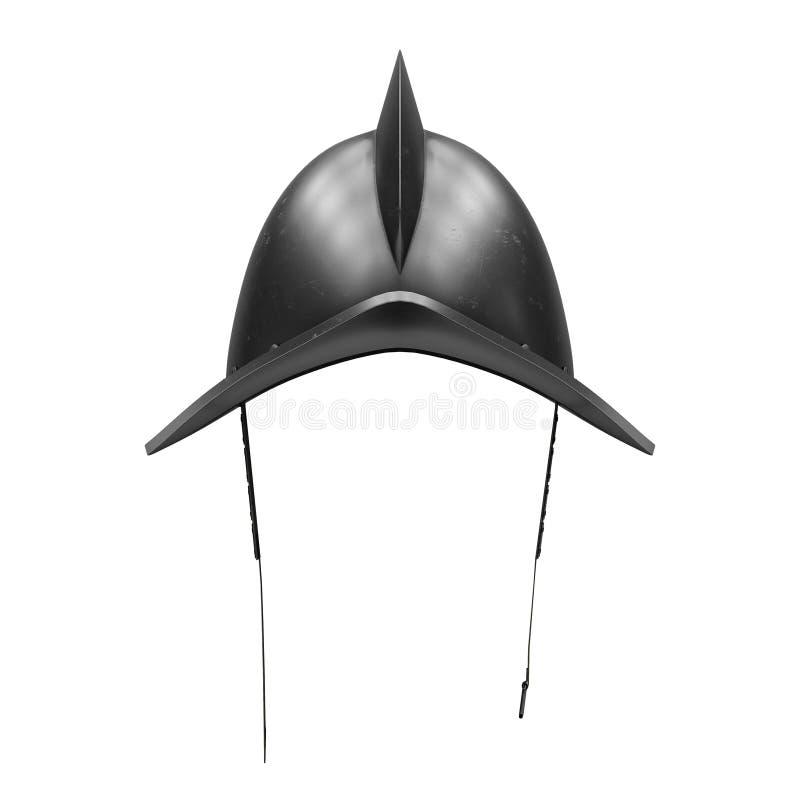 Middeleeuwse Ridder Spanish Morion Helmet vector illustratie