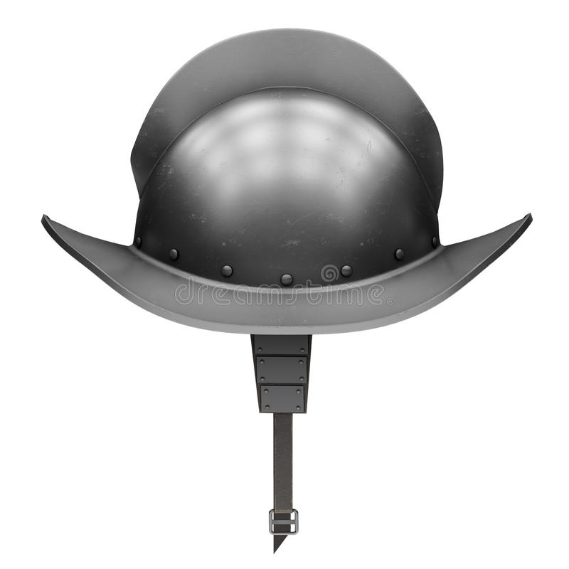 Middeleeuwse Ridder Spanish Morion Helmet stock illustratie