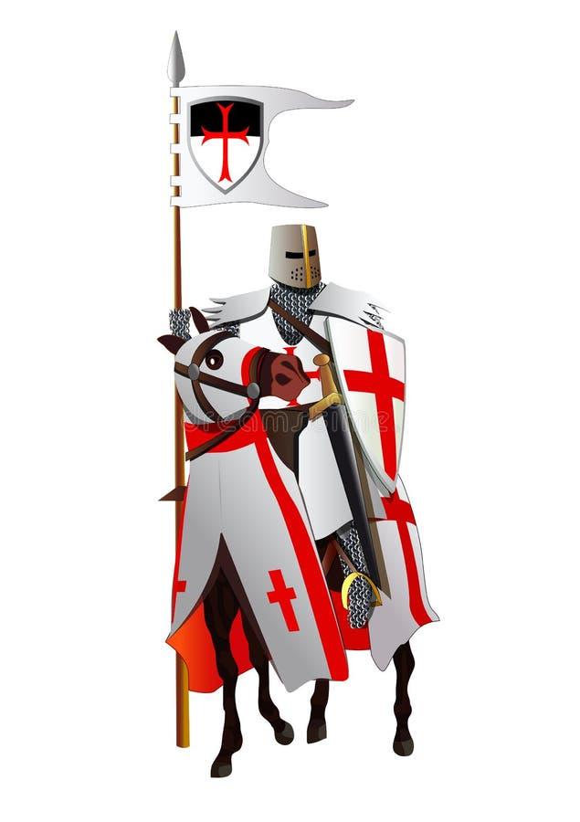 Middeleeuwse ridder, templar, op een paard Vector stock illustratie