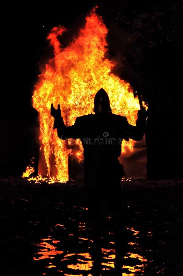 Middeleeuwse ridder van brand royalty-vrije stock fotografie