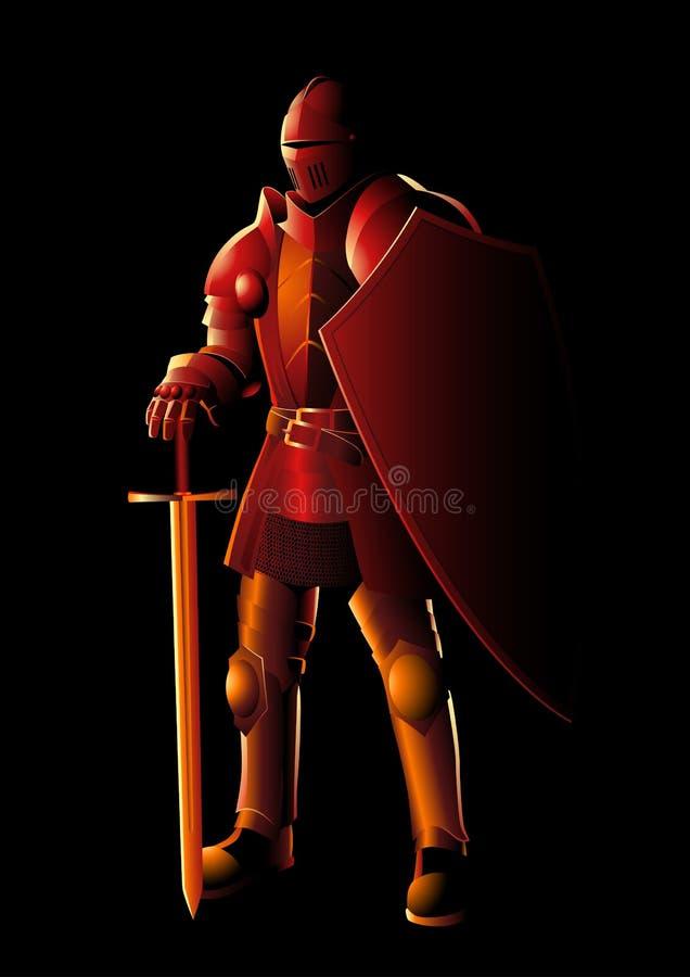 Middeleeuwse ridder in volledig lichaamspantser vector illustratie
