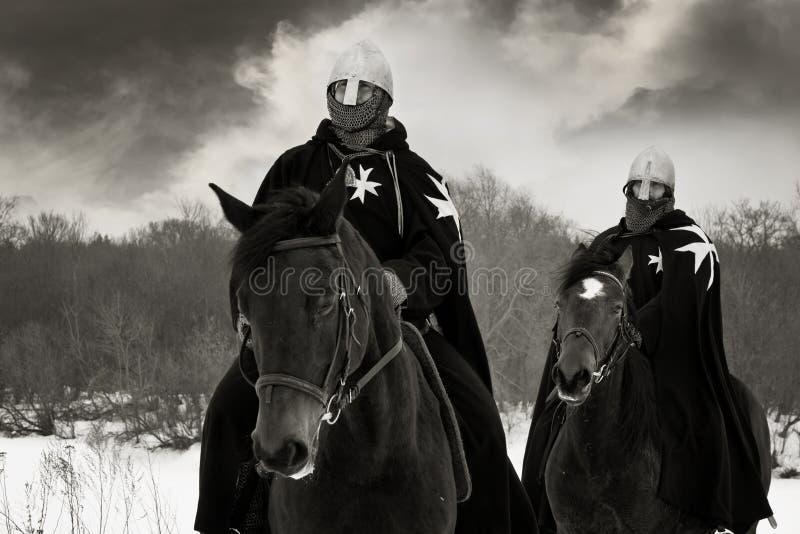 Middeleeuwse ridders van St. John (Hospitallers) royalty-vrije stock afbeeldingen