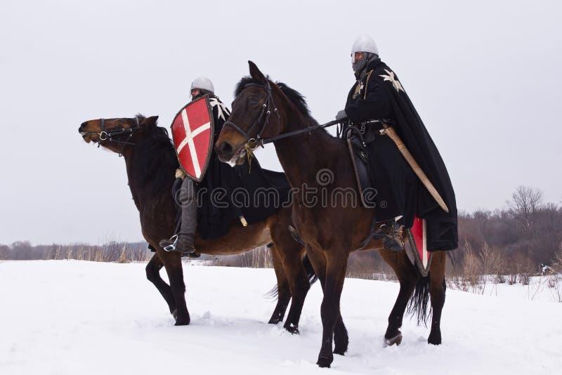 Middeleeuwse ridders van St. John (Hospitallers) stock afbeelding