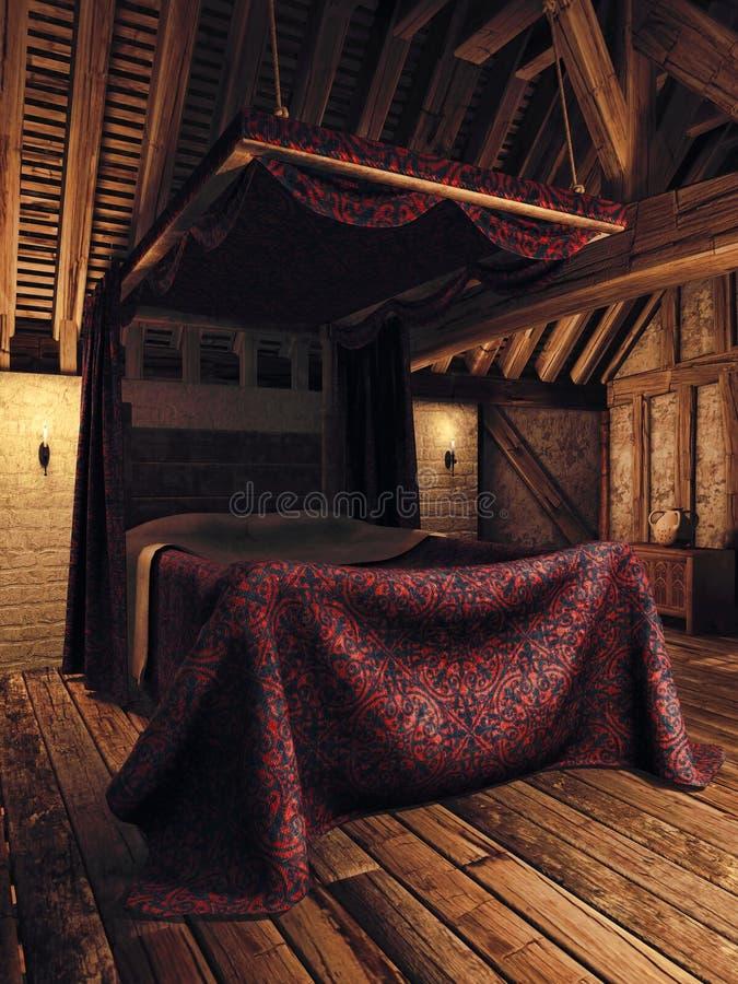 Middeleeuwse slaapkamer met kaarsen stock illustratie