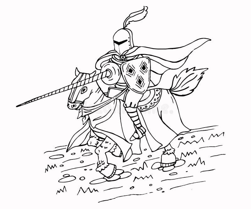 Middeleeuwse Spear Ridder op Paard Inktillustratie royalty-vrije illustratie