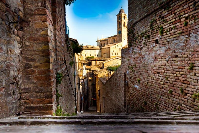 Middeleeuwse stad Urbino in Italië royalty-vrije stock afbeelding
