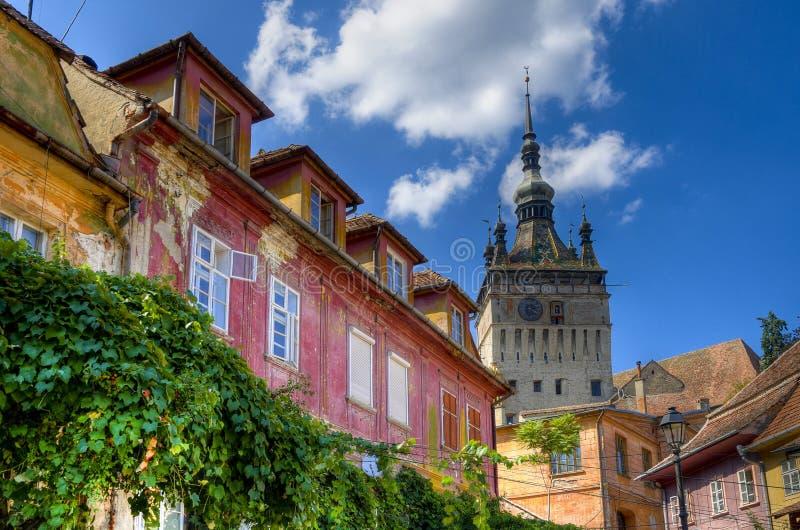 Middeleeuwse stad van sighisoara royalty-vrije stock afbeeldingen