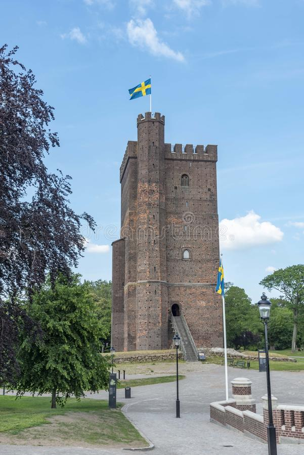 Middeleeuwse toren Karnan in Helsingborg Zweden royalty-vrije stock foto