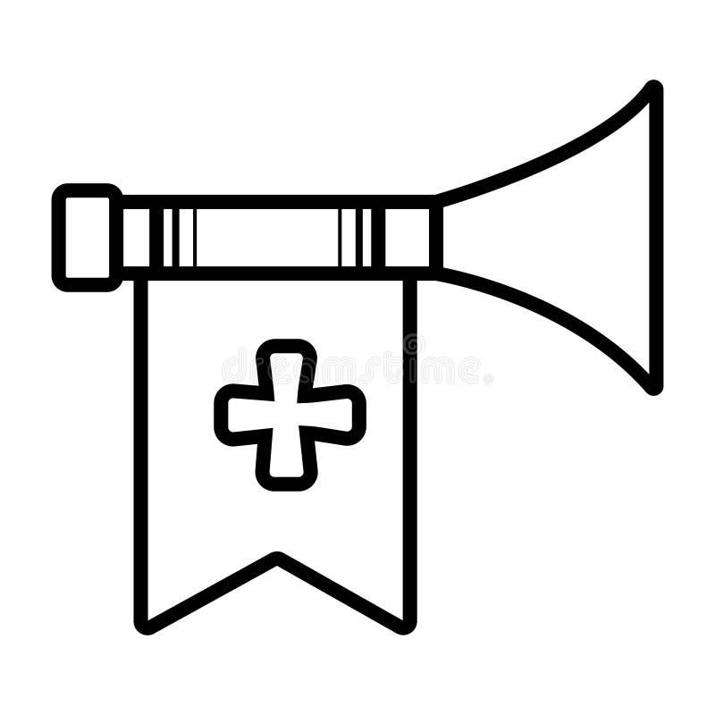 Middeleeuwse trompet met vlag vector illustratie