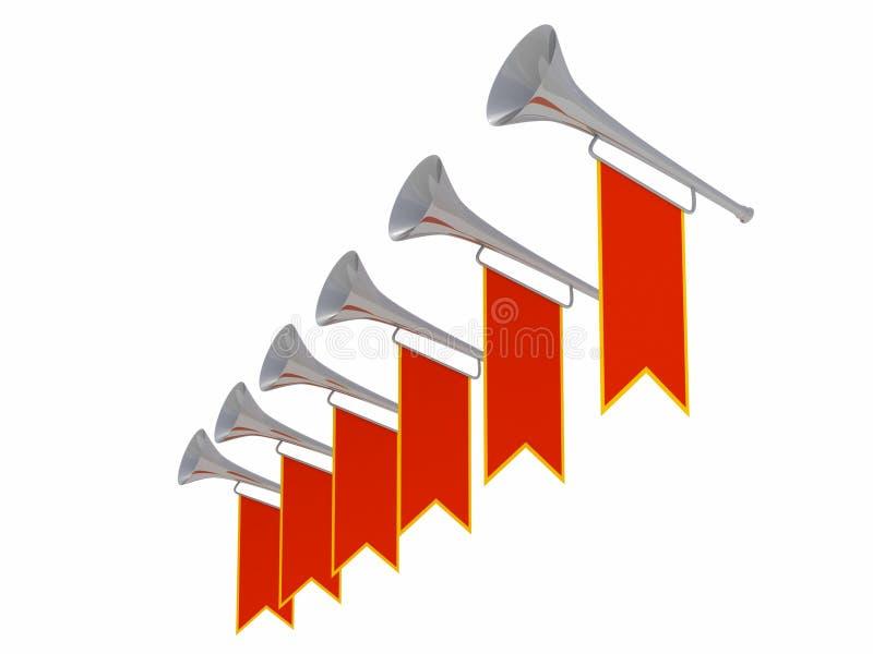 Middeleeuwse trompetten met rode banners stock illustratie