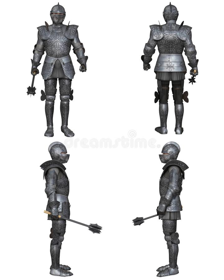 Middeleeuwse Verfraaid Gotisch van Ridderfantasy character set royalty-vrije illustratie