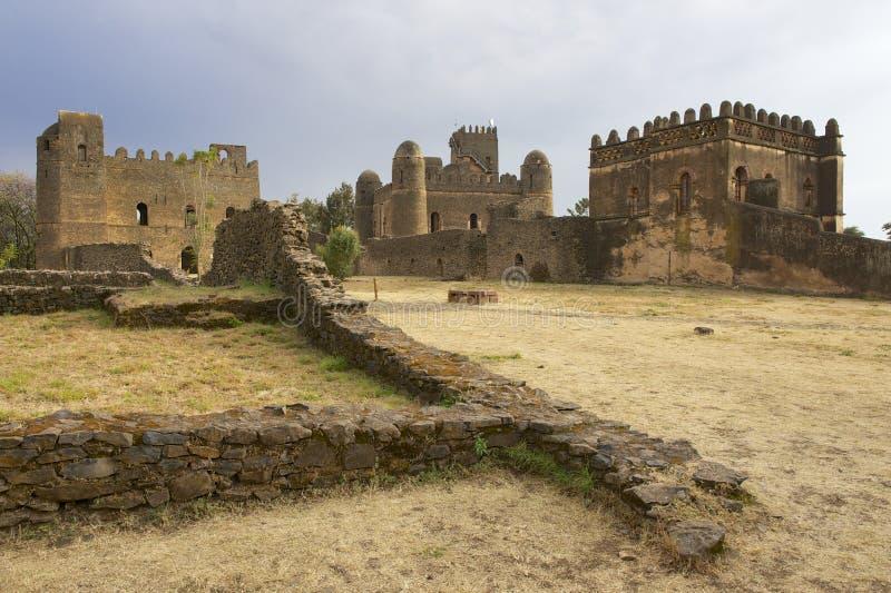 Middeleeuwse vesting in Gondar, Ethiopië, Unesco-de plaats van de Werelderfenis stock foto