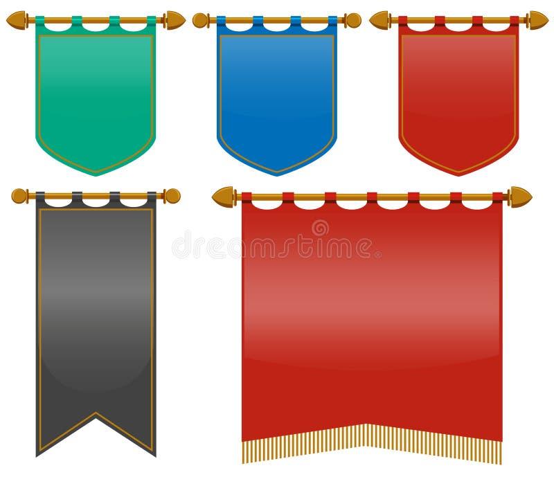 Middeleeuwse vlaggen in verschillende kleuren vector illustratie