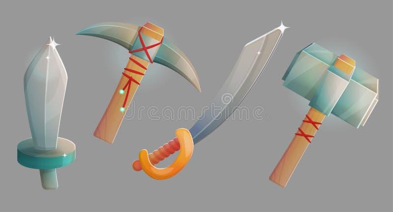 Middeleeuwse wapens en munitie stock illustratie
