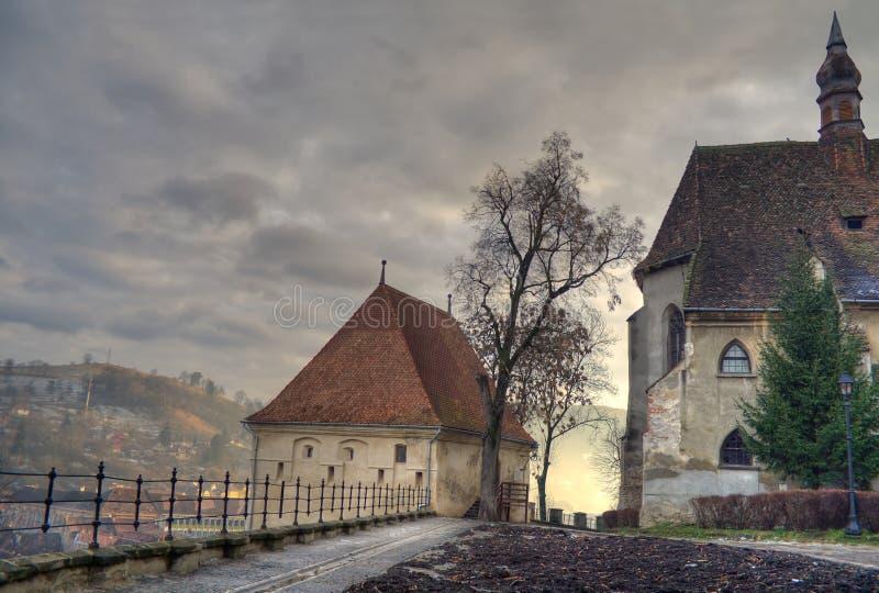 Middeleeuwse zonsondergang stock afbeelding