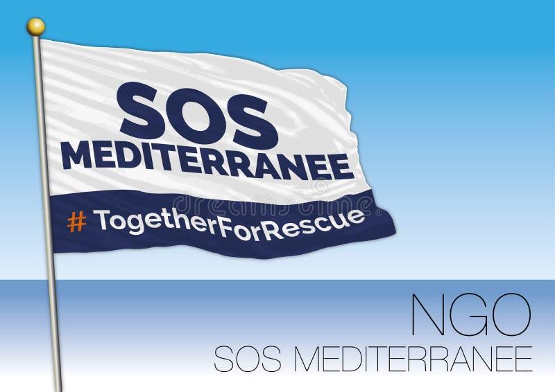 MIDDELLANDSE ZEE, EUROPA, JAAR 2017 - Vlag van S.O.S. Mediterranee, Internationale Niet-gouvernementele Organisatie Betrokken bij stock illustratie