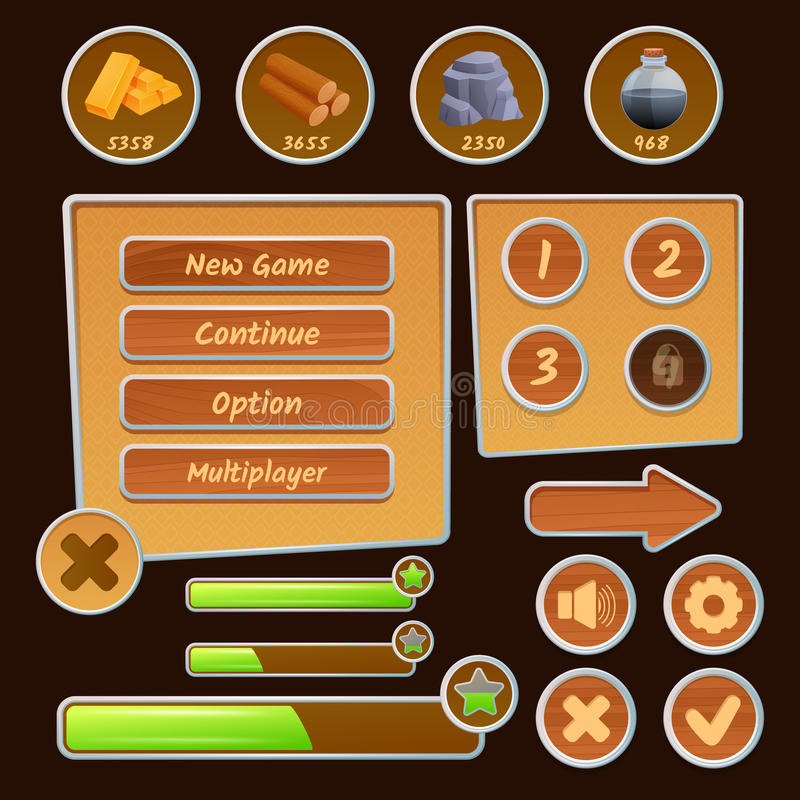 Middelpictogrammen voor Spelen stock illustratie