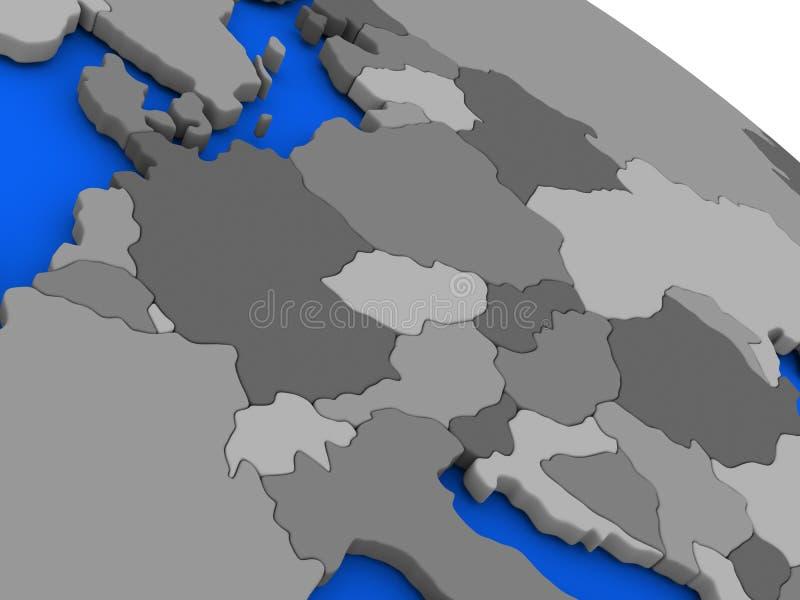 Midden-Europa op politiek Aardemodel royalty-vrije illustratie