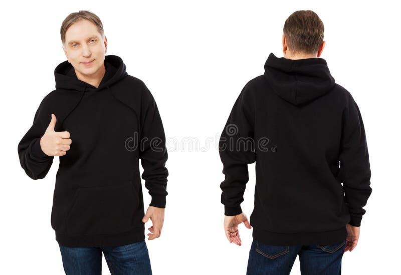 Midden geïsoleerde leeftijdsmens in zwart sweatshirtmalplaatje Mannelijke sweatshirts die met model en exemplaarruimte worden gep royalty-vrije stock afbeelding