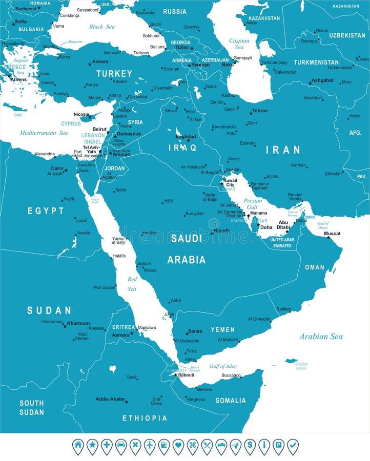 Midden-Oosten en Azië - kaart en navigatieetiketten - illustratie royalty-vrije illustratie