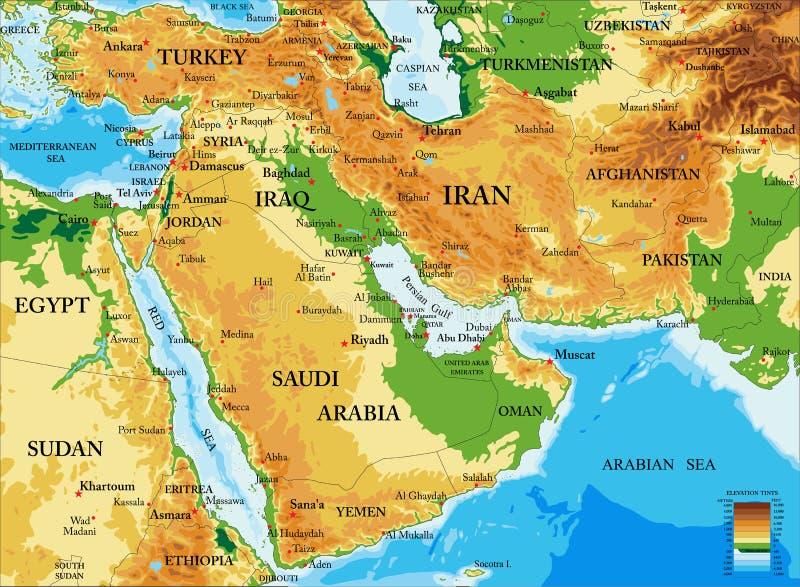 Midden oosten-Fysieke kaart stock illustratie