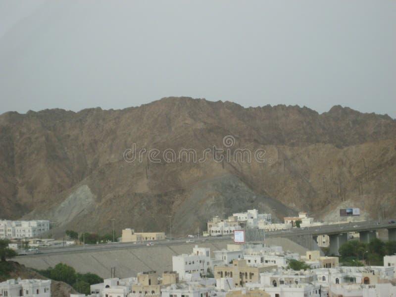 Midden-Oosten, Oman, schilderachtige mening over het landschapsfotografie van Muscateldruifoman stock afbeelding