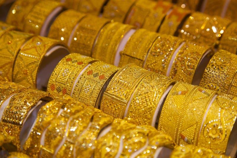 Midden-Oosten, Verenigde Arabische Emiraten, Doubai, Gouden Souk, Goud stock afbeelding