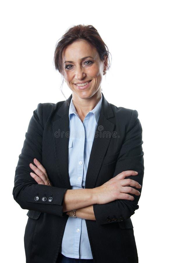 Het midden oude bedrijfsvrouw glimlachen royalty-vrije stock afbeelding
