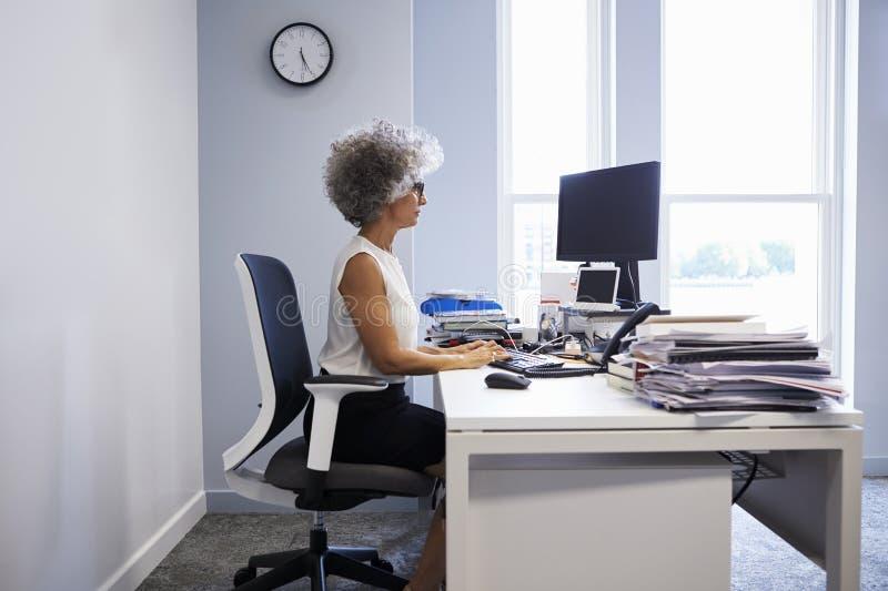Midden oude onderneemster die laptop computer in haar bureau met behulp van royalty-vrije stock afbeelding