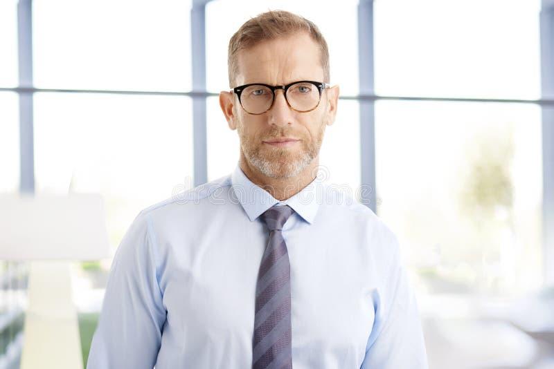Midden oude zakenman op het kantoor royalty-vrije stock foto