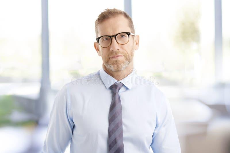 Midden oude zakenman op het kantoor royalty-vrije stock afbeelding