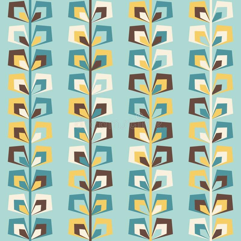 Midden van de eeuw geometrisch retro patroon, uitstekende kleuren vector illustratie