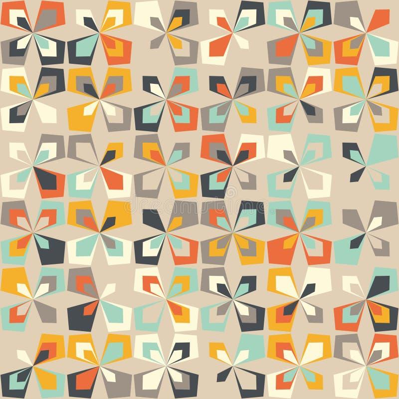 Midden van de eeuw geometrisch retro patroon, uitstekende kleuren, retro behang royalty-vrije illustratie