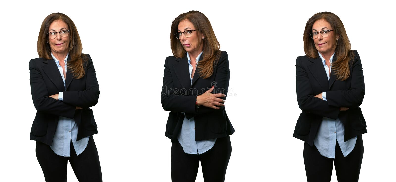 Middenleeftijds bedrijfsvrouw met lang haar royalty-vrije stock foto